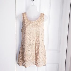Tops - NEW Beige Nude Floral Lace Tank Top Large